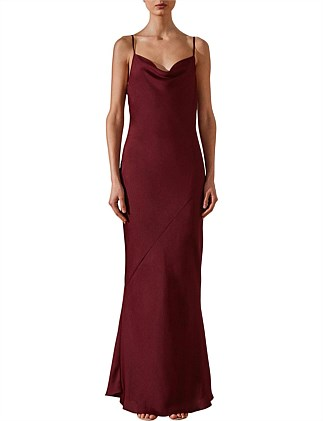 Bias Cowl Slip Dress Garnet