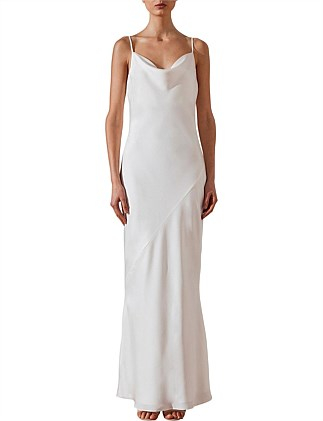 Bias Cowl Slip Dress Ivory