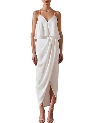 Draped Cocktail Frill Dress Ivory