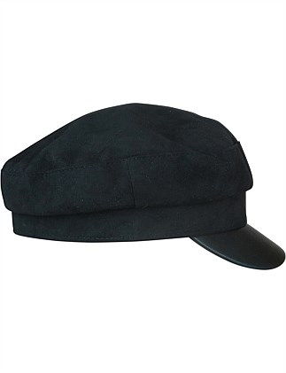 Black suedette cap with PU brim