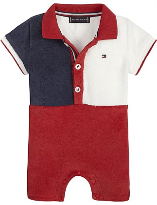 611416577 Baby Boy Flag Polo Shortall S/S(0-3M-1Y) Special Offer. Tommy Hilfiger