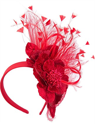 Red flower & feathers fascinator