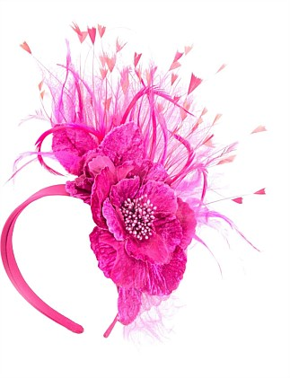 Fuchsia flower & feathers fascinator