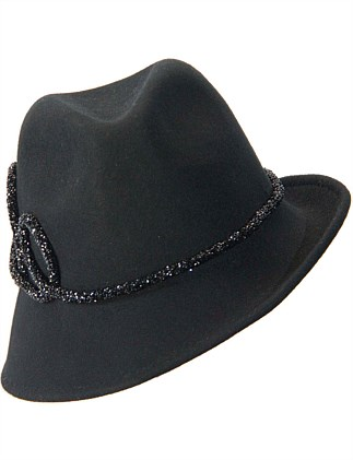 Black trilby felt fashion hat