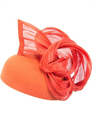 Orange pillbox with silk abaca trim
