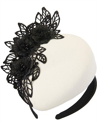 Cream winter pillbox with black lace