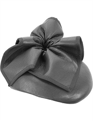Black leather pillbox fascinator