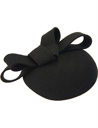 Black felt pillbox with bow