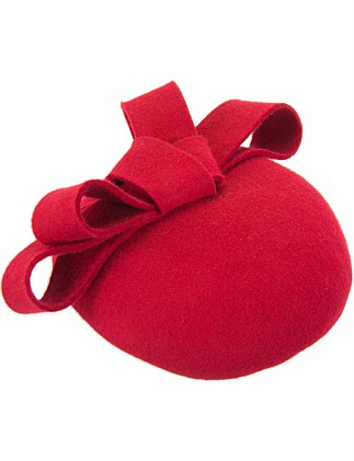 Red felt pillbox with bow