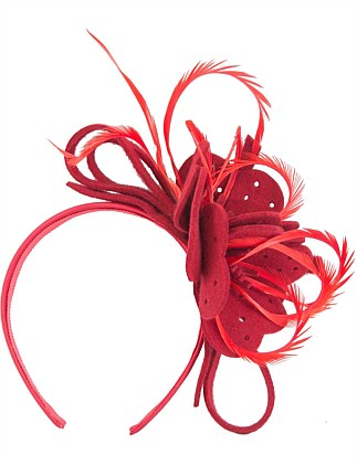 Red felt flower & feathers fascinators