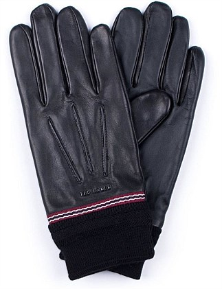 LEATHER KNITTED STRIPE GLOVES