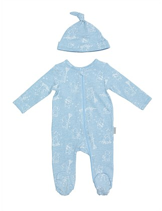 4eab017b53 Footed Romper And Beanie Set Mono Print (Newborn-12 Months)