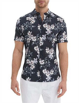 Short Sleeve Tapered Small Magnolia Print Shirt