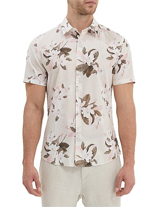 Short Sleeve Tapered Magnolia Print Shirt