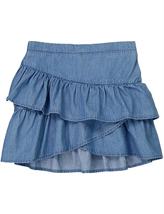 Chambray Ruffle Skirt (Girls 2-12)