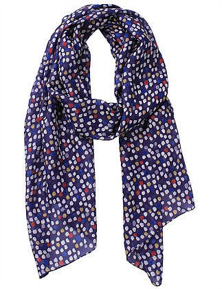 Printed Multi Spots Silk Oblong Scarf