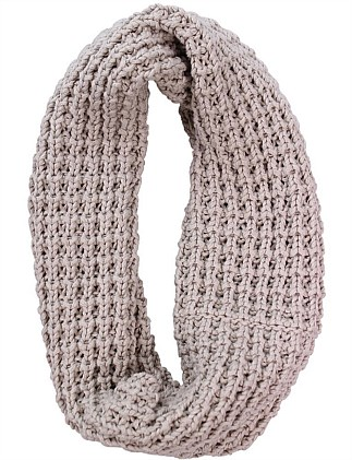 Fisherman's Rib Cotton Knit Infinity Loop Scarf