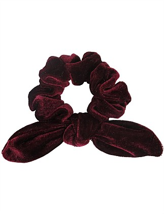 Plain velvet scrunchies with tails