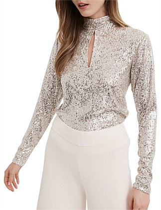 Sequin Keyhole Top