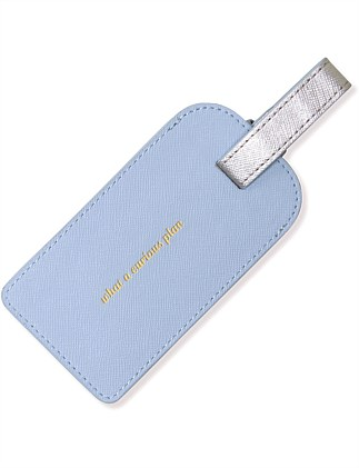 APW Leather Luggage Tag - misty blue/silver
