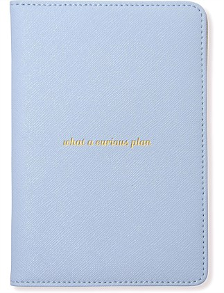 APW Leather Passport Cover - misty Blue/Silver