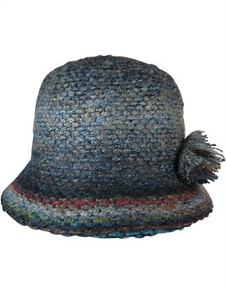 57efc10bc83 Black mix knit cloche with side pompom ...