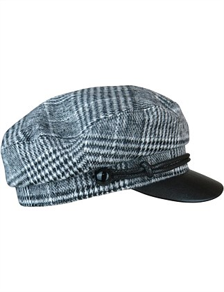 Black/white check cap with PU brim