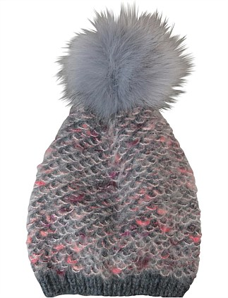 Fuzzy look beanie with fur pompom