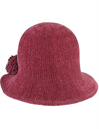 Rose chenille cloche with pompom trim