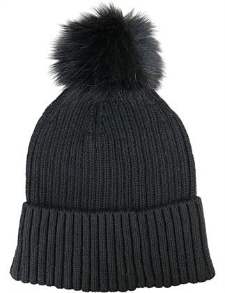 c7c6442bf80f Fine rib knit beanie w fur pompom
