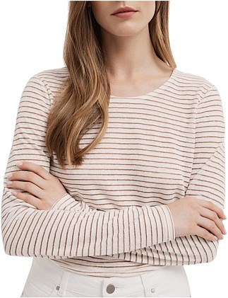 Metallic Stripe Long Sleeve Top