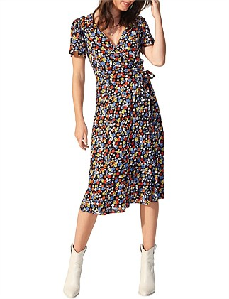 Belle Flower Short Sleeve Midi Dress