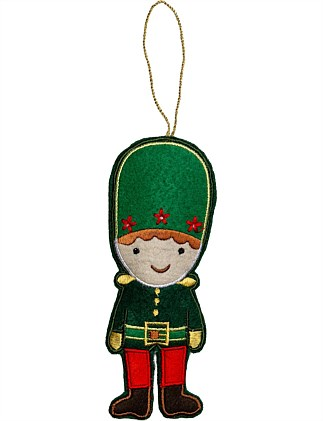 Fabric Green Nutcracker Ornament