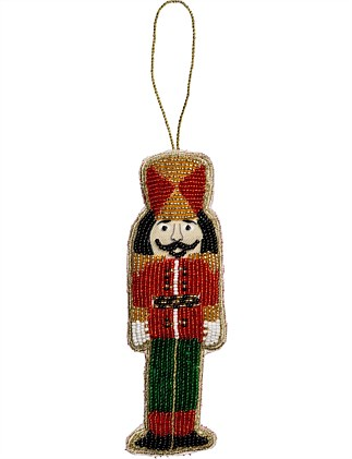 Glass Beaded Nutcracker Ornament