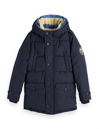 QUILTED JACKET WITH HOOD & TEDDY LINING