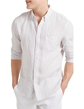 Yarn Dyed Long Sleeve Linen Shirt