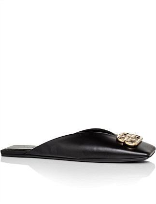 DOUBLE SQUARE BB FLAT MULE VARENNE CALFSKIN BB GOLD