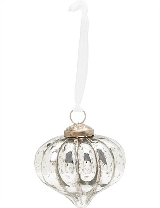 Antiqued Silver ridged 7cm Glass Onion