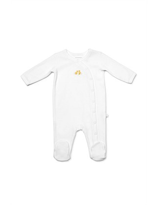 Velour Studsuit - Hand Embroided Chicks(NB-9M)