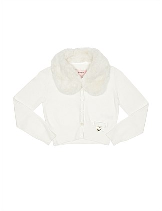 Cardigan with detachable faux fur collar (Girls 3-7 Years)