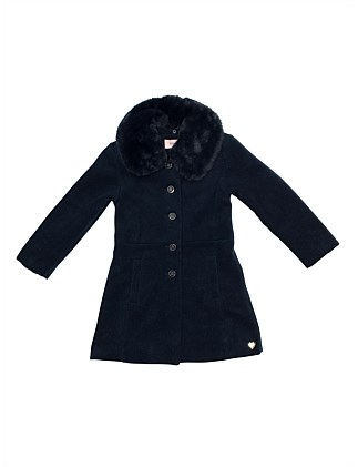 Coat with detachable faux fur collar (Girls 3-7 Years)