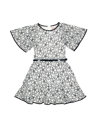 Emboidered floral ruffle dress (Girls 8-16)