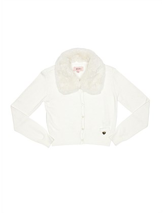 Cardigan with detachable faux fur collar (Girls 8-16)