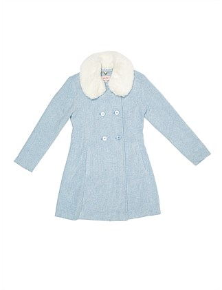 Weave coat detachable faux fur collar (Girls 8-16)