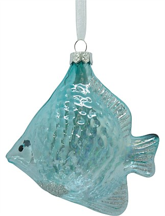 Glass Blue Fish Ornament 10cm