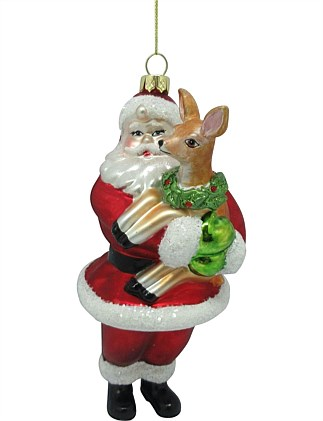 16 cm Glass Santa Holding Deer Ornament