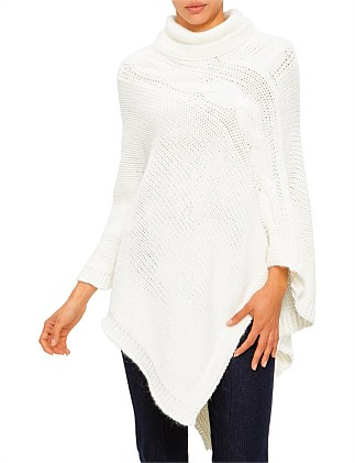 CABLE KNIT TRIM ROLL NECK PONCHO
