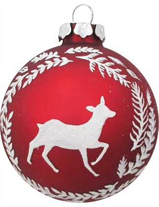 8cm Glass Red Ball with White Reindeer Design Ornament