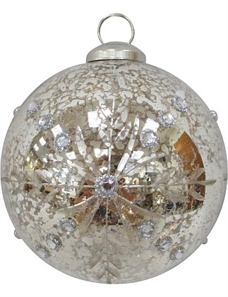 8cm Mercury Glass With Etched Snowflake & Gems Ornament