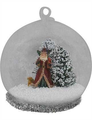 Glass Ball with Santa Trees & Puppy Inside Ornament